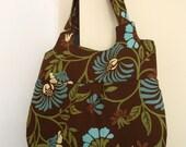 Tee Shoulder Bag - Brown\/Aqua Floral