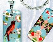 Little Robin Necklace - GeoForms Petite Reversible Glass Art