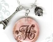 PERSONALIZED  Initial Charm Necklace - Reversible Glass Art-  Custom Letter Charm Necklace - Voyageur Collection - La Petite Paris Rose