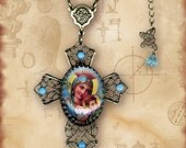 Cross with Madonna Necklace - Reversible  Glass Cabochon - Symbolz - The Ancient Mysteries Collection - Madonna Kitsch