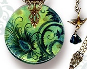 Peacock Necklace - Reversible Glass Art  - Voyageur - The Alhambra Collection - Peacock Feather Fleur