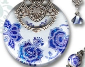 Moroccan Necklace - Reversible Glass Art - Voyageur-Moroccon Market Collection - Bleu Jardin Majorelle