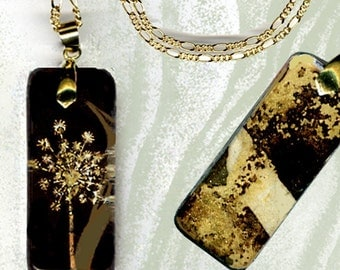 GeoForms River Stones-Reversible Glass Art Necklaces- Brown Sage Dandelion