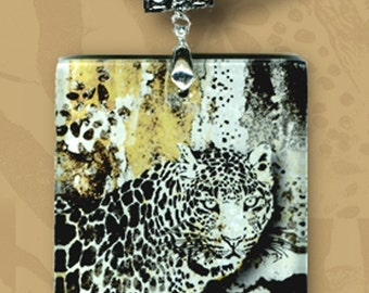 Snow Leopard Glass Tile Necklace - Reversible Glass Art - GeoForms - Wild of Heart Series