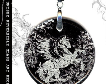 Pegasus Necklace - S.T.R.E.E.T.Z  Shimmerz Collection- Unisex Reversible Glass Art Necklace- Platinum Pegasus