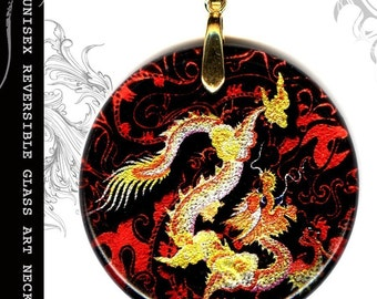 Chinese Dragon Necklace -  Unisex Reversible Glass Art  - S.T.R.E.E.T.Z Shimmerz Collection- Golden Dragon