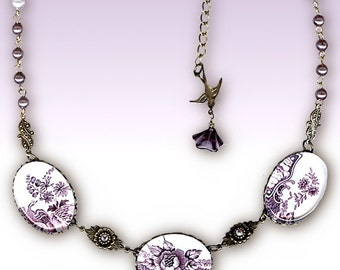 Cottage Chic Plum Victorian Necklace - Glass Cabochon - Romantic Victorian Garden Collection  - Purple Passion English Garden