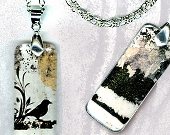 Little Black Bird Jewelry - GeoForms River Stones-Reversible Glass Art Necklaces- Little Black Bird