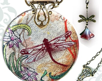Dragonfly Metallic Silver Glass Necklace - Voyageur SHIMMERZ - Nouveau Jardin Collection - Reversible Glass Art