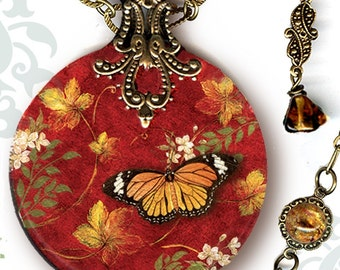 Monarch Butterfly Necklace - Reversible Glass Art - Voyageur SHIMMERZ - Victorian Garden Collection - The Monarchy