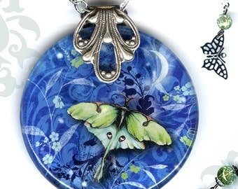 Luna Moth Necklace - Glass Art - Reversible - Nouveau Jardin Collection - Luna