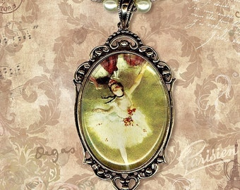 Ballerina Necklace - Glass Cabochon Frame - Art Masters Collection-- La Danseuse
