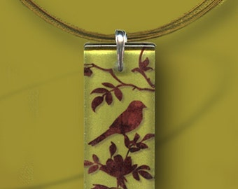 Chinois Bird  Necklace- GeoForms - Reversible Glass Art - Brown on Sage Bird