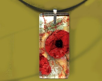 Red Poppy Necklace - Reversible Glass Art Necklaces - GeoForms Collection
