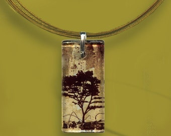 Brown Tree Glass Tile Necklace - GeoForms Glass-Reversible Art