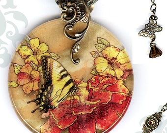 Tiger Swallowtail Butterfly Necklace - Reversible Glass Art - Voyageur - Nouveau Jardin Collection - Tiger Swallowtail Floral Profusion