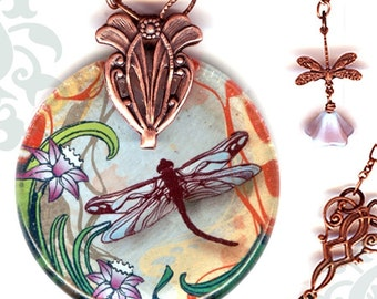 Dragonfly Necklace - Reversible Glass Art - Voyageur - Nouveau Jardin Collection -Copper Garden Dragonfly