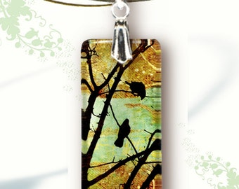 Birds in a Tree Necklace - Reversible Glass Art - GeoForms Collection-- Woodland Sunrise