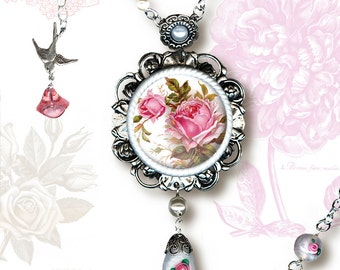 Cottage Chic Rose Necklace - Glass Cabochon - Botanicalz -  Cottage Chic Soft Pink Rose