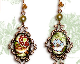 Boho Chic  Dangle Earrings - Glass Cabochon -  Botanicalz - Bohemian Rhapsody