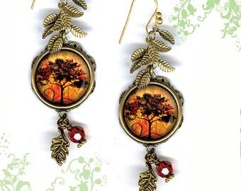 Autumn Tree Earrings - GeoForms SHIMMERZ Petite Glass Art Earrings - Falling Leaves