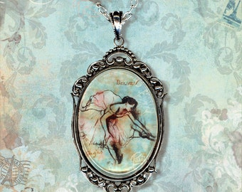Degas Ballerina Sketchbook Necklace - Vintage Paris Fashion - Glass Frame Cabochon