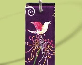 GeoForms-Reversible Glass Art Necklaces-Song Bird