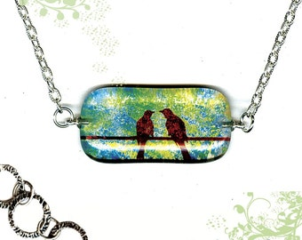 Birds of a Feather Necklace - Reversible Glass Art Necklace - GeoForms collection