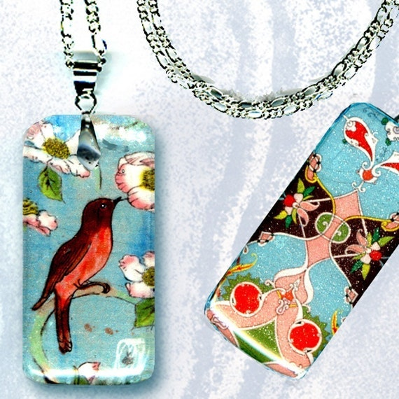 Little Robin Necklace - GeoForms Petite Reversible Glass Art