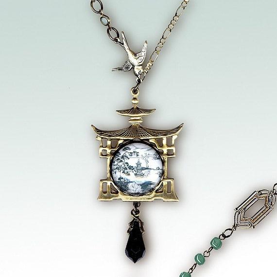 Jade Pagoda Garden Necklace - Glass Cabochon - Voyageur - Victorian Garden Collection