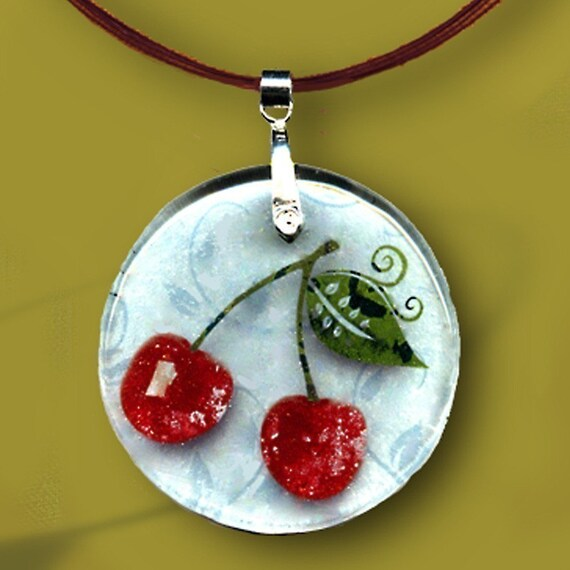 Red Cherry Necklace - Geoforms-Reversible Glass Art - So Very Cherry