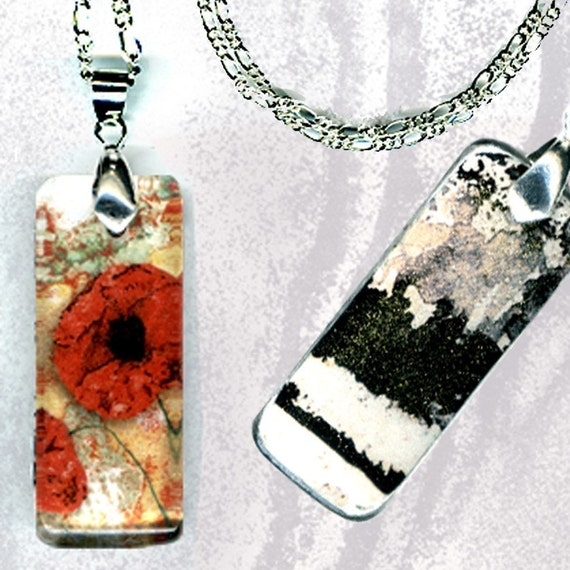 Red Poppy Jewelry - Reversible Glass Art Necklaces - GeoForms Petite Collection