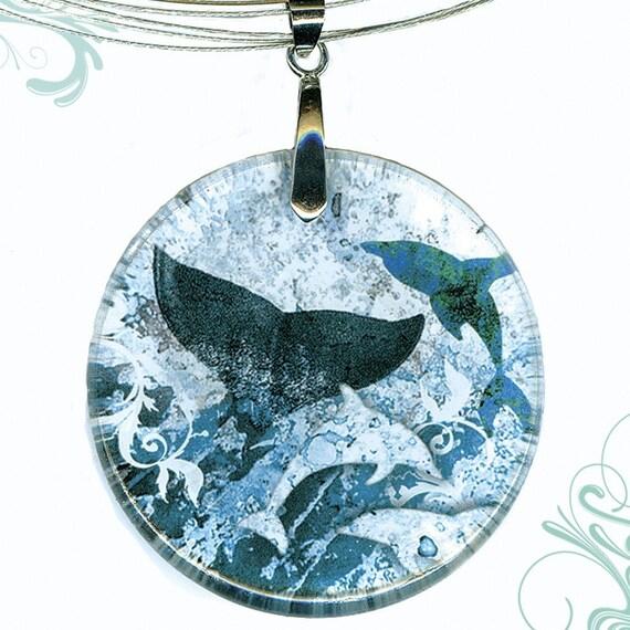 Whale Necklace - Reversible Glass Art - AquaForm - Deep Sea Rising