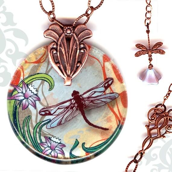 Dragonfly Necklace - Reversible Glass Art - Voyageur - Nouveau Jardin Collection -Copper Garden Dragonfly