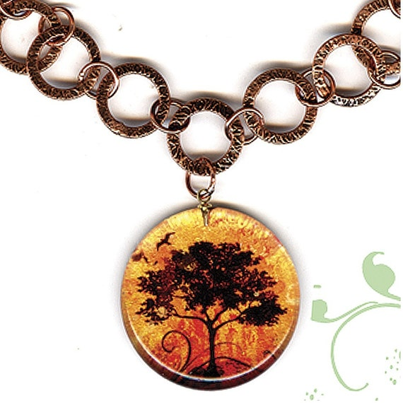 Fall Tree Copper Necklace - Geoforms SHIMMERZ Reversible Art Glass - Shimmer and Glow Tree