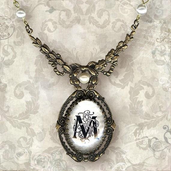 CUSTOM Initial Frame Necklace - Vintage Paris Fashion - Ornate Rococo Letter Frame