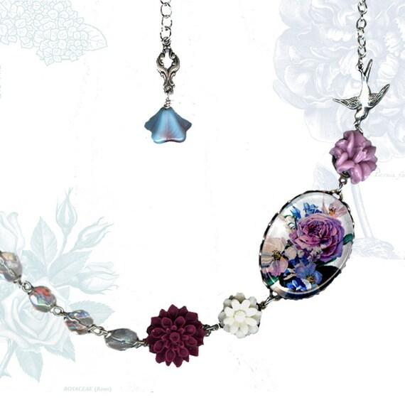 Lavender Floral Bouquet Necklace  - Glass Cabochon  - Botanicalz -  Shabby Chic Collection