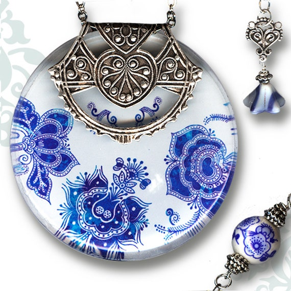 Moroccan Necklace - Reversible Glass Art - Voyageur-Moroccon Market Collection - Bleu Jardin Majorelle