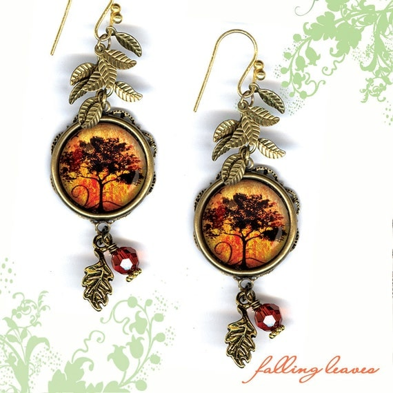 Autumn Tree Earrings - GeoForms SHIMMERZ Petite Glass Art Earrings - Falling Leaves