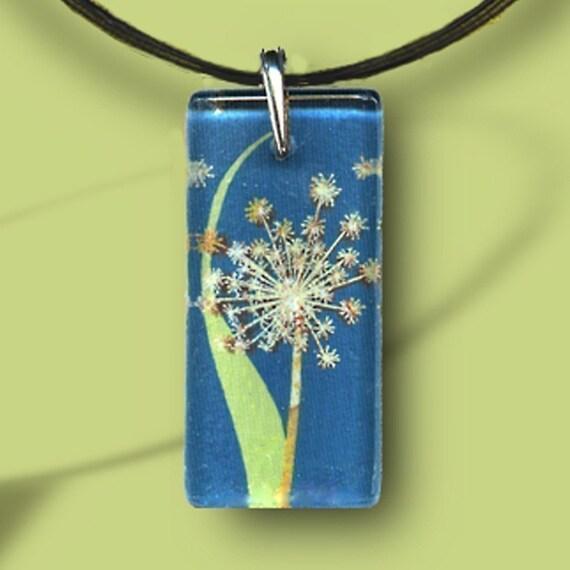 GeoForms-Reversible Glass Art Necklaces- Spring Dandelion