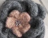 Handmade Felt Flower Brooch Knit Flower Brooch Pin Dark Gray Salmon Peach - 238