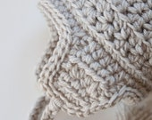 Knitted Baby Hat Baby Winter Hat Baby Ear Flap Hat - Ivory - 6 to 12 Months