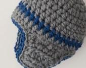 Children Winter Clothing - Baby Aviator Hat - Gray & Blue 0 to 6 months