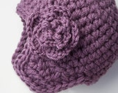Baby Girls Winter Hat with Earflaps & Flower -  Lavender - 0 to 12 months