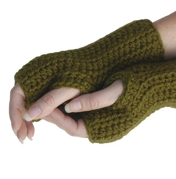 Handmade Women's Fingerless Gloves Texting Gloves Vegan Dark Olive Green
