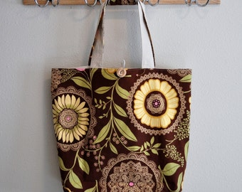 Roll Up Market Bag - Lacework in Brown