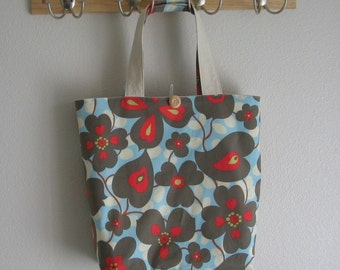 Roll Up Market Bag - Morning Glory in Linen