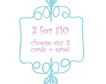 Custom Letterpress Card Set (3 cards for 10 dollars)