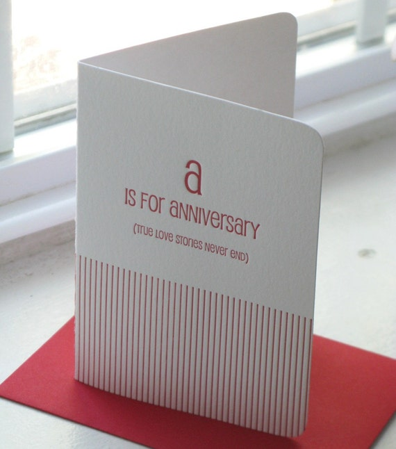 A is for Anniversary (true love stories never end) Valentine Wedding Anniversary Letterpress Card