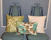 Retro Turquoise Floral Pillow Color 12X18""